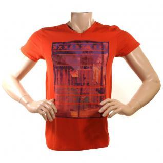 Herren T-Shirt Kurzarm Stitch & Soul Tahiti Island Foto Print Orange M