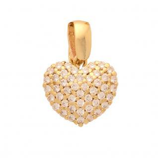 Basic Gold HZ02 Damen Anhänger Herz 14 Karat (585) Gelbgold Gold weiß
