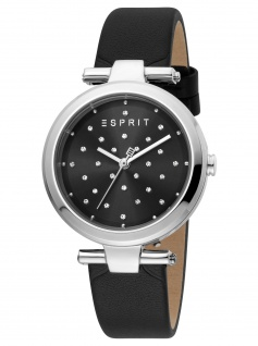 Esprit ES1L167L0025 Fine Dot Black Uhr Damenuhr Lederarmband schwarz