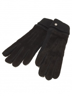 Esprit Damen Handschuhe Knit suede gloves Größe S Schwarz