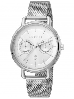 Esprit ES1L179M0065 Ellen Multi Silver Mesh Uhr Damenuhr Datum silber