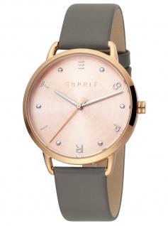 Esprit ES1L173L0045 Fun Rosegold Grey Uhr Damenuhr Lederarmband grau