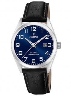 Festina F20446/2 Uhr Herrenuhr Lederarmband Datum blau