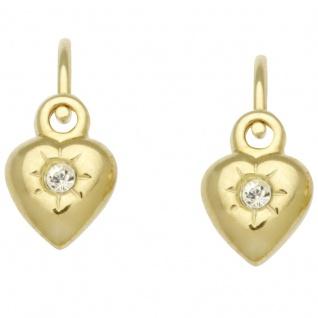 Basic Gold KI26 Mädchen Ohrringe Herz 14 Karat (585) Gelbgold Weiß