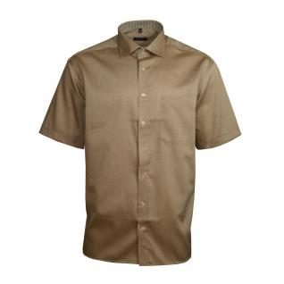 Eterna Herrenhemd Kurzarm Comfort Fit Beige Freizeit Hemd Hemden XL/44