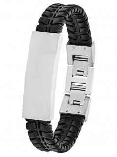 s.Oliver 2027442 Herren Armband Edelstahl Silber schwarz 21, 5 cm