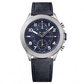 Tommy Hilfiger 1791346 Hudson Uhr Herrenuhr Lederarmband Datum Schwarz