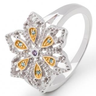 gooix 943-06501-54 Damen Ring Blume Bicolor Gold Blau 54 (17.2)