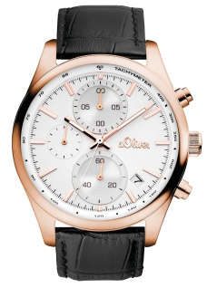 s.Oliver SO-3347-LC Chronograph Uhr Herrenuhr Leder Datum Schwarz