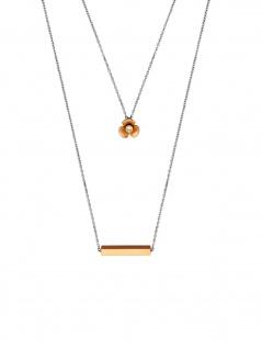 Esprit ESNL00252342 Damen Collier Orchid Bicolor Rose Weiß 45 cm