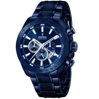 FESTINA F16887/1 Chronograph Uhr Herrenuhr Edelstahl Chrono Datum blau