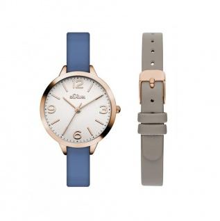 s.Oliver SO-3240-LQ Uhr Damenuhr Lederarmband Blau