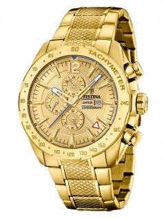 FESTINA F20441/1 Chronograph Uhr Herrenuhr Edelstahl Chrono Datum Gold