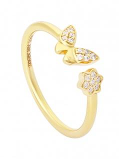 Julie Julsen JJFRG0419.3 Damen Ring Schmetterling Feelings Gold Weiß