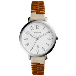 Fossil ES4209 JAQUELINE Uhr Damenuhr Lederarmband Datum Beige