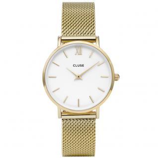 CLUSE CL30010 Minuit Mesh Gold/White Uhr Damenuhr Edelstahl gold