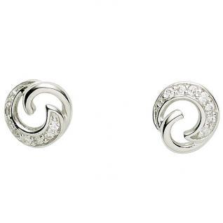 Basic Silber 01.1136 Damen Ohrstecker Silber Zirkonia weiß
