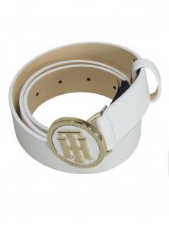 Tommy Hilfiger Damen Gürtel TH Round Buckle Leder 85cm Weiß - Vorschau