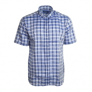 Eterna Herrenhemd Kurzarm Modern Fit Blau Weiß Gr. XXL/46 2085/15/C25P