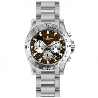 Jacques Lemans MONTREAL Chronograph Uhr Herrenuhr Edelstahl braun