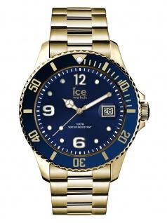 Ice-Watch 016762 Ice Steel Gold Blue Large Uhr Edelstahl Datum Gold