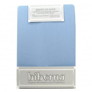 Biberna Jersey Elastic Spannbetttuch Eisblau 120 x 200 - 130 x 220