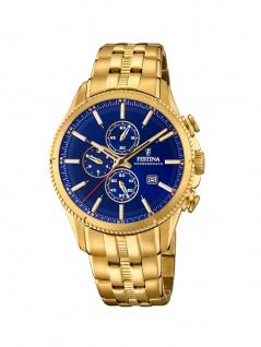 FESTINA F20418/2 Chronograph Uhr Herrenuhr Edelstahl Chrono Datum Gold