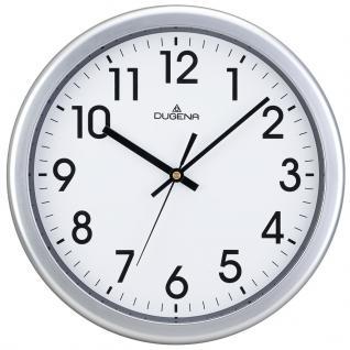 DUGENA 4460647 Wanduhr Uhr lautlos Kunststoff Analog silber