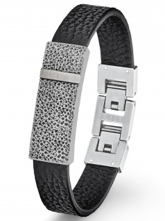 s.Oliver 2027445 Herren Armband Edelstahl Silber schwarz 21, 5 cm