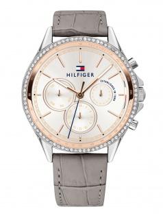 Tommy Hilfiger 1781980 ARI Uhr Damenuhr Lederarmband Datum Grau