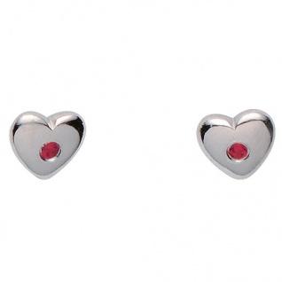 Basic Silber 01.KS132R Mädchen Ohrstecker Herz Silber Zirkonia pink - Vorschau 1