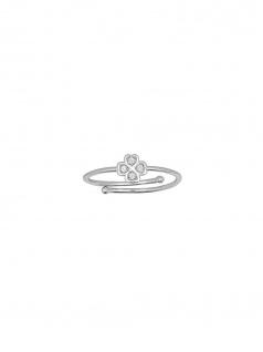 XENOX XS1632 Damen Ring Kleeblatt Glamour Girl Silber Weiß