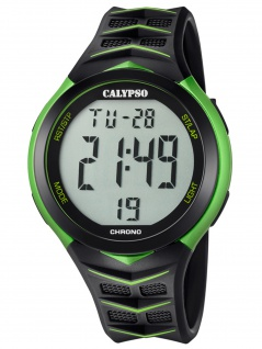 Calypso K5730/4 Chrono Uhr Herrenuhr Kunststoff Datum Alarm schwarz