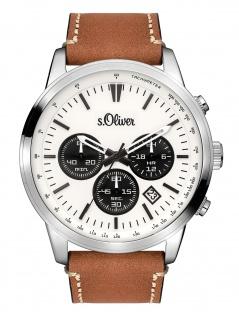 s.Oliver SO-3335-LC Chronograph Uhr Herrenuhr Lederarmband Datum Braun