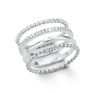 s.Oliver 2015043 Damen Ring Sterling-Silber 925 Silber Weiß 58 (18.5)