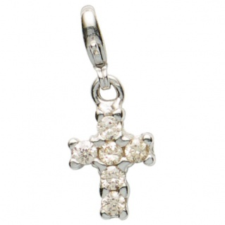 Basic Silber 22.VX098.W Damen Charms Kreuz Silber Zirkonia weiß