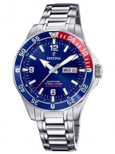 Festina F20478/2 Automatik Automatic Uhr Herrenuhr Datum silber