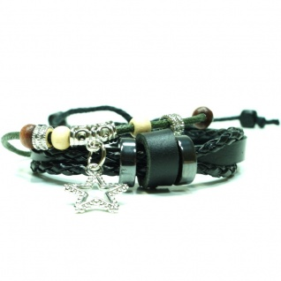 CJBB4424 Damen Armband Stern Leder schwarz
