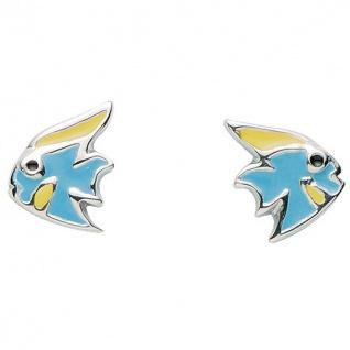 Basic Silber 01.KS103 Mädchen Ohrstecker Fisch Silber blau gelb
