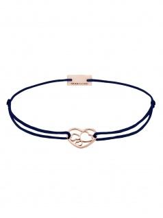 MOMENTOSS 21202077 Damen Armband Filo Herzen Rose dunkelblau 19 cm