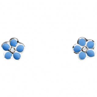 Basic Gold KI45 Mädchen Ohrstecker Blume blau 14 Karat (585) Weiß Gold