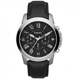 Fossil FS4812IE GRANT Chronograph Uhr Herrenuhr Leder Chrono schwarz