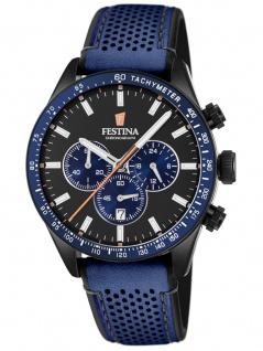 FESTINA F20359/2 Chronograph Uhr Herrenuhr Edelstahl Chrono Datum Blau