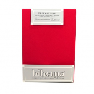 Biberna 77866-176 Jersey Elastic Spannbetttuch Rot 120 x 200 130 x 220