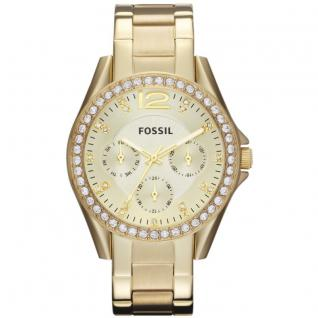 Fossil ES3203 RILEY Uhr Damenuhr Edelstahl Datum gold Zirkonia