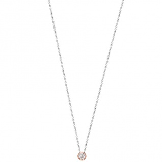 XENOX XS7281R Damen Collier Silver Circle rosé Bicolor Rose weiß 45 cm