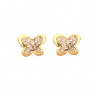 Basic Gold KI83 Mädchen Ohrstecker Schmetterling 14 Karat (585) Gold