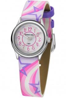 JACQUES FAREL HCC324 Stern Uhr Mädchen Kinderuhr Lederarmband rosa