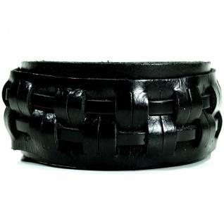 CJBB1935 Herren Armband Leder schwarz 22, 5 cm