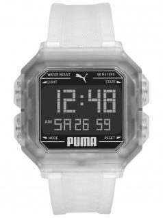 PUMA P5036 Uhr Herrenuhr Plastik Datum weiß
